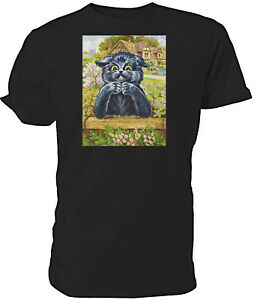 Louis Wain Black Thinking Cat T shirt - Choice of size & colours.