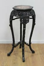 "Antique~CARVED 36"" WOOD&MARBLE CHINESE/ASIAN/ORIENTAL PLANT STAND/TABLE"