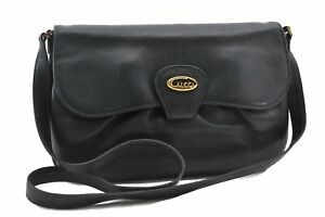 Authentic GUCCI Shoulder Cross Body Bag Leather Black 0138A
