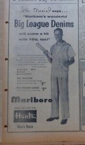 1954 newspaper ad for Marlboro Men's Clothing - Stan Musial in Big League Denims