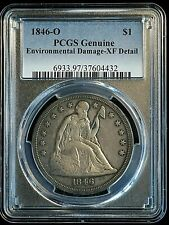 1846 O $1 Seated Liberty Silver Dollar Coin PCGS Genuine XF Details VERY RARE!!!