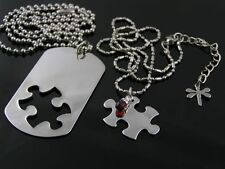Matching Couple Necklaces, Dog Tag and Puzzle Piece, Personalized Couple Jewelry