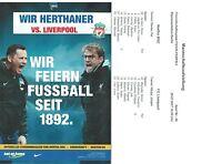 Programm + Aufstellung Friendly 29.7.2017 Hertha BSC Berlin - Liverpool FC