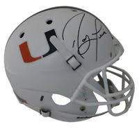Ray Lewis Autographed Miami Hurricanes White Schutt Replica Helmet JSA 24061