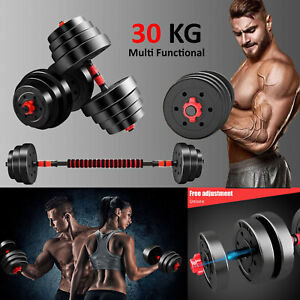 30kg Adjustable Dumbbell Barbell Weight Lifting Set Pair Home Gym Dumbell NEW UK