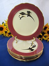 "KOKURA Ware Magenta Gold Trim Salad Plates 7 3/4"" Japan Set Of 6 EXC!!"