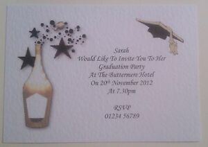 GRADUATION INVITATIONS WITH ENVELOPES PERSONALISED PACK OF 5 CHM