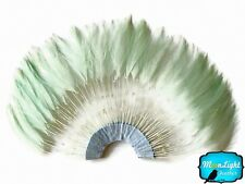 Rooster Feathers 1 Piece Aqua Half Beaded Pinwheel Stripped Rooster Feathers