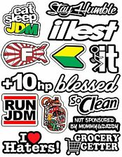 JDM Pack/lot Of 14 Vinyl Decal Sticker Bombing Low Stance Drift (Type2 Blessed)