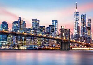 Vlies Fototapete NEW YORK bei Nacht Stadt Skyline See Brücke Wohnzimmer Tapete 2