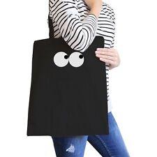 Eye Emoji Black Canvas Bag For School Graphic Printed Tote Bags