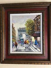 Antique Oil Canvas Painting , European, Paris, Arc de Triomphe, 50 yrs old.