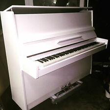 White Gloss Modern Upright Piano Renewed Refinished Guarantee Delivered