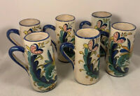 Vintage Italian Pottery Cappuccino Coffee Mugs Hand Painted Roosters Italy Set/6