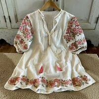 L Boho Embroidered Oaxacan Tunic Top Vtg 70s Insp White Blouse Womens LARGE NWT