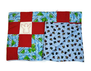 Handmade Baby Quilt Blanket Reversible Unique Multicolor Trains & Green Frogs