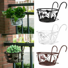 Iron Art Hanging Baskets Holders Over The Rail Home Fence Planters Flowers Pots