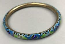 Antique Chinese Export Silver, Cloisonne, Enamel Pierced Bangle Bracelet