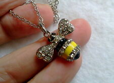 CRYSTAL BLACK AND YELLOW BUMBLE BEE SILVER TONE NECKLACE