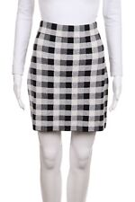 981a73a21 THEORY Mini Skirt Medium Black White Checkered Elastic High Waist Above Knee