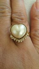 14k Heart Shaped Mabe Pearl Diamond Ring preowned