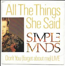 """Simple Minds - All The Things She Said - UK 7"""" - VS860 - 1986"""