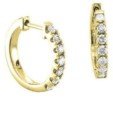 Natural Real Diamond Hoop Huggies Earrings VS1 F 1/2Ct Prong Set 14K Yellow Gold