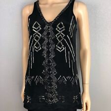 Nicole Miller Women's Beaded Silk Tank Black Size Small Evening Formal Wear