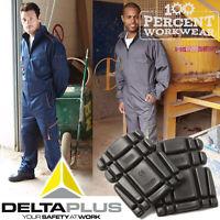 Heavy Duty Delta Plus Work Overalls Boiler Suit Mechanics Coveralls + Knee Pads