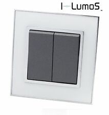 I LumoS AS White Mirror Glass & Grey 13A Single/Double Sockets & Light Switches