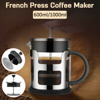 French Press Coffee Maker 600ml/1000ml Plunger Glass Tea Pot Stainless Steel Cup
