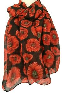 Poppy Scarf Ladies Red Black Large Poppies Flower Wrap Floral Print Shawl