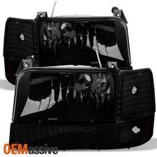 1992-1996 Ford Bronco F150 F250 F350 Black Smoked Headlights+Corner+Bumper Lamps