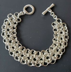Chain Mail, Silver Colored Japanese Lace Style, Chainmaille Bracelet