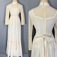 Vintage 70s GUNNE SAX Dress Prairie Boho Cottagecore Festival Gown Crochet Lace