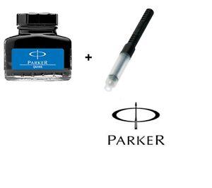PARKER QUINK FOUNTAIN INK BOTTLE 30ml Blue + Parker Convertor - Chipest on Ebay