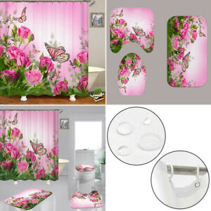 Butterfly Pink Rose Bathroom Shower Curtain Bath Rug Mat Toilet Lid Cover Set