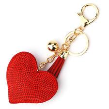 Heart Shaped Crystal Full Rhinestone Handbag Charm Pendant Bag Keyring Key Chain