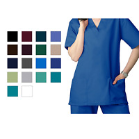 Adar Men Women Medical Nursing Workwear Uniform 1 Pocket V-Neck Scrub Top