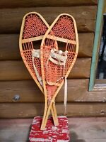 Vintage Canadian snowshoes military issue c.1969 13X42 poly webbing, bindings