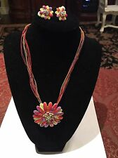 Vintage Enamel Rhinestone Orange Pink Purple Green Choker Necklace Earrings Set