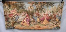 """Romantic Scene Musician French Wall Hanging Tapestry Beauvais Style 36"""" x 18"""""""