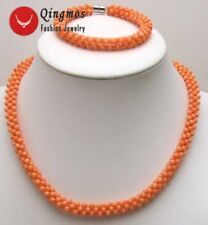 "10mm Handwork Weave Natural Pink Coral Necklace for Women Bracelet 17"" Set 5426"