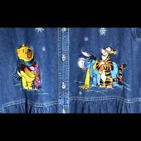 Disney Winnie The Pooh and Friends Blue Denim Collar Dress Size XXL Vintage 90's