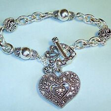 NEW Marcasite Heart Charm Toggle Bracelet Silver Vintage look beads USA Seller