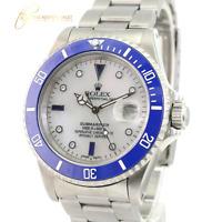 Rolex  Mens Submariner SS White MOP Diamond Sapphire Dial Blue Insert 40mm Watch