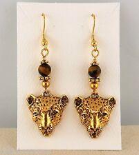 3D Hand crafted Gold Leopard Earrings w/ Tiger Eye genuine gemstones