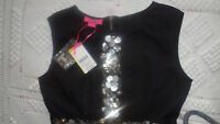 MONSOON FUSION BLACK 100% COTTON DRESS WITH BEAD DETAILS SIZE UK 8