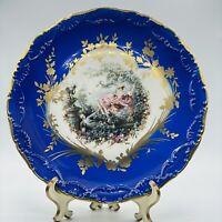 Vintage Limoges France Cabinet Portrait Plate Blue Border Lovers Lady on Swing