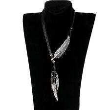 Women Vintage Silver Feather Leaf Cystal Pendant Choker Statement Bib Necklace
